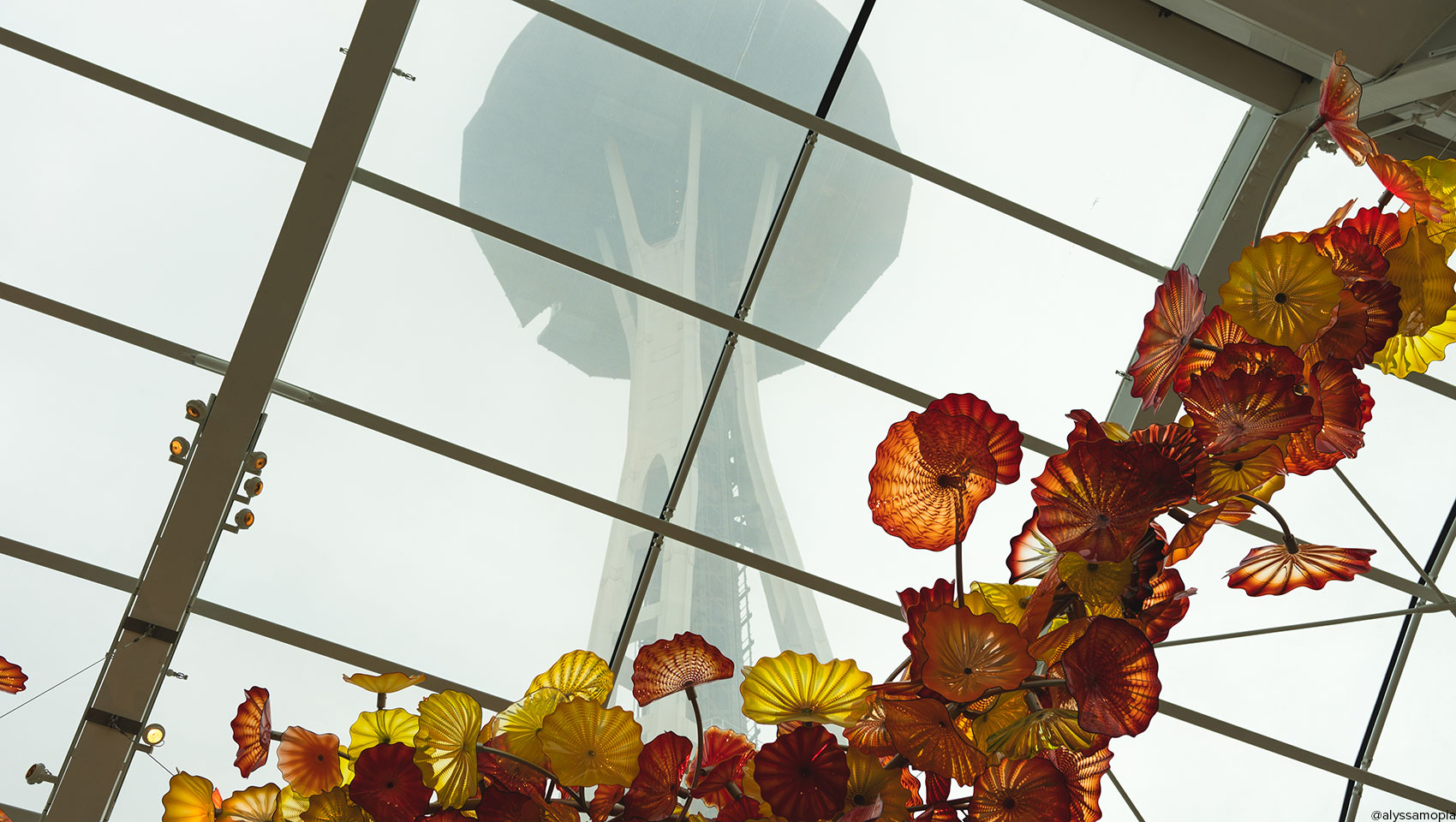View of Space Needle from Chihuly Garden and Glass museum