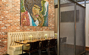 intimate private dining space at Outlier restaurant in downtown Seattle
